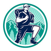 Isolated Digital Art - Hiker Hiking Mountain Retro by Aloysius Patrimonio