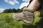 Bayern Prints - Hiking boots and summer landscape Print by Matthias Hauser