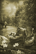 Autumn Leaves Metal Prints - Hiking Boots Metal Print by Christopher Elwell and Amanda Haselock