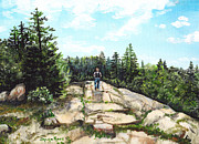 Hiker Paintings - Hiking in Maine by Shana Rowe