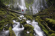 Dog Walking Prints - Hiking the falls Print by Christian Heeb