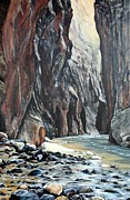 Zion National Park Paintings - Hiking the Narrows by Cynthia Langford