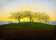 Caravaggio Paintings - Hill and Ploughed Field near Dresden by Caspar David Friedrich by MotionAge Art and Design - Ahmet Asar