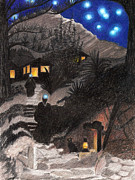 Monks Drawings - Hill Cabins by Deborah Good