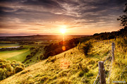 Simon Bratt Photography Posters - Hill fence sunset Poster by Simon Bratt Photography