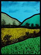 Panel Glass Art - Hills and meadow by Ron Harpham