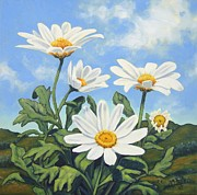 Renewing Framed Prints - Hills and White Daisies Framed Print by James Derieg