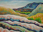 Santa Fe Pastels Originals - Hills like an Indian rug by Dale Beckman