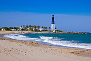 Hillsboro Prints - Hillsboro Inlet Lighthouse Print by Les Palenik