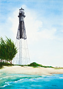 Hillsboro Prints - Hillsboro Point Inlet Florida Lighthouse Print by Michelle Wiarda