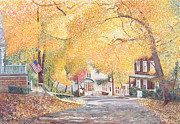 Autumn Scene Framed Prints - Hillside Avenue Staten Island Framed Print by Anthony Butera