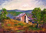 Old Barn Pastels - Hillside Barn by Bruce Schrader