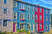 Clapboard Houses Prints - Hillside Newfoundland Houses Print by Verena Matthew