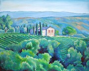 Grapevines Painting Prints - Hillsides of Tuscany Print by Sheila Diemert