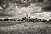 Barn Storm Prints - Hilltop Barn Under Storm Clouds 2 BW Print by Greg Jackson