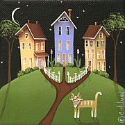 Folk Art Paintings - Hilltop Lane by Catherine Holman