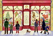 Christmas Cards Painting Prints - Hilltop Toys and Games Print by Lavinia Hamer
