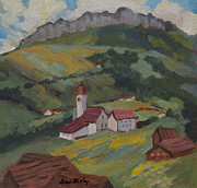Switzerland Painting Originals - Hilltop Village Switzerland by Diane McClary