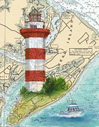 Hilton Framed Prints - Hilton Head Island Lighthouse SC Nautical Chart Map Art Cathy Peek Framed Print by Cathy Peek