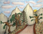 Wildlife Landscape Drawings - Himalaya Dharamkot Path by Elizabeth Stedman