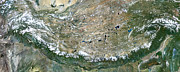 Topography Photos - Himalaya Mountains Asia True Colour Satellite Image  by Anonymous