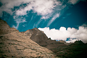 Ice Pyrography Metal Prints - Himalyas mountains in Tibet with clouds Metal Print by Raimond Klavins