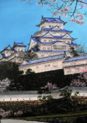 Cherry Blossoms Paintings - Himeji Castle by D L Gerring