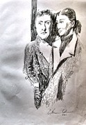 Live Art Drawings Prints - Hinda and Gittel Before the War Print by Esther Newman-Cohen