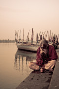 Yamuna River Posters - Hindu Priest Offering Prayers Poster by Nila Newsom