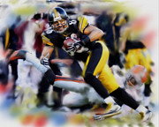 Wide Receiver Mixed Media Prints - Hines Ward  Print by Dwayne  Graham