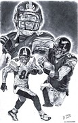 Steelers Drawings - Hines Ward by Jonathan Tooley