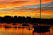 Boston Ma Prints - Hingham Sunset and Sailboats Print by Ronald Bartels