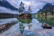Mystical Landscape Pyrography Prints - Hintersee I Print by Florian Westermann