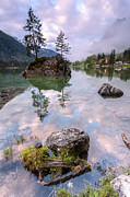 Mystical Landscape Pyrography Prints - Hintersee II Print by Florian Westermann