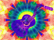 Trippy Digital Art - Hippie guitar by Bill Cannon
