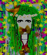 Hippie Mixed Media Posters - Hippie Landscape In Peace Pop Art Poster by Pepita Selles