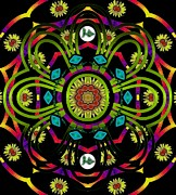 Hippie Mixed Media Posters - Hippie Mandala Poster by Pepita Selles