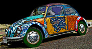 Sheats Framed Prints - Hippie VW Bug Framed Print by Samuel Sheats