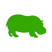 Hippopotamus Digital Art Posters - Hippo in Green and White Poster by Jackie Farnsworth