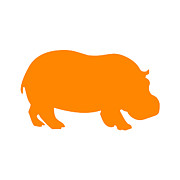 Hippopotamus Digital Art Posters - Hippo in Orange and White Poster by Jackie Farnsworth
