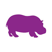 Hippopotamus Digital Art Posters - Hippo in Purple and White Poster by Jackie Farnsworth