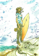 Surf Art Posters - Hippy Surf Poster by Harry Holiday