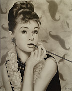 Audrey Hepburn Painting Originals - Hipster by David Johnson