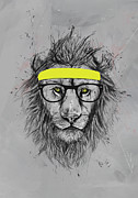 Animal Humor Prints - Hipster lion Print by Balazs Solti