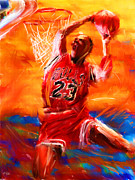 Basketball Abstract Digital Art Posters - His Airness Poster by Lourry Legarde