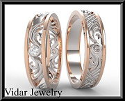 Band Jewelry Originals - His And Hers 14K Rose And White Gold Matching Wedding Bands Set by Roi Avidar
