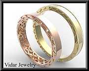 14k Jewelry - His And Hers 14K Yellow And Rose Matching Wedding Bands Set by Roi Avidar