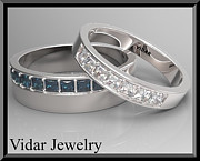 Band Jewelry Originals - His And Hers Blue Sapphire And White Diamond Matching Wedding Bands by Roi Avidar