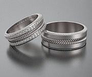 Band Jewelry Originals - His And Hers Gold Wedding Band Set With Pave Set Sparkling Diamonds by Roi Avidar