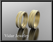 Band Jewelry Originals - His And Hers Matching 14kt Yellow Gold Diamond Wedding Bands Set  by Roi Avidar
